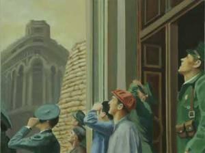 Combate aéreo, 2010, óleo/lienzo, 35x46 cm.