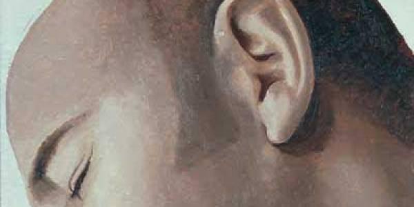 La oreja dormida 2003 Óleo sobre madera 15 x 15 cm