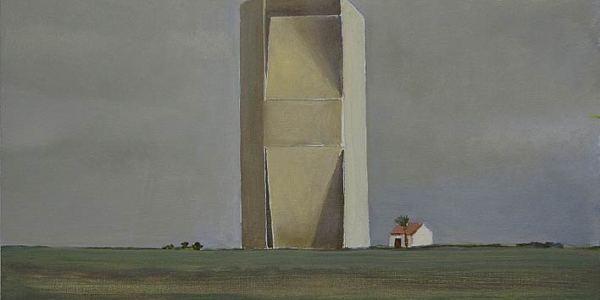 Casa y granero. Óleo/madera. 20 x 27 cm