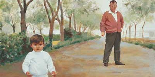 En el paseo. Conchi y Damián 2003 Óleo sobre madera 27 x 38 cm