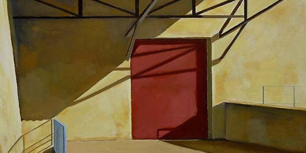 La puerta roja. Óleo/madera. 40 x 55 cm