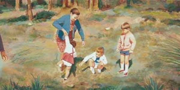 Un día de campo. Mi madre y los cuatro 2003 Óleo sobre madera. 20 x 40 cm