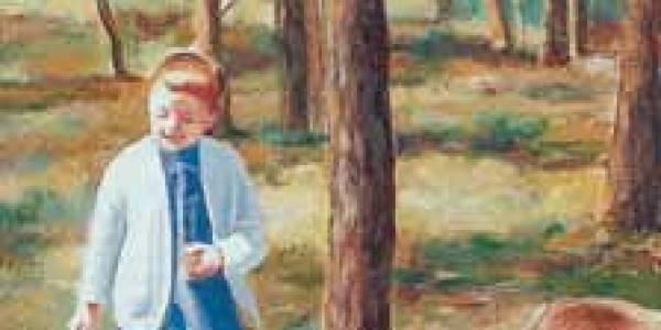 Un día de campo. Inés y Damián 2003 Óleo sobre madera 40 x 20 cm