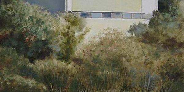 Pabellón Aljarafe. Óleo/madera. 32 x 37 cm