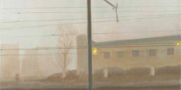 Desde el tren VII. 2008. Óleo sobre lienzo. 19 X 33 cm