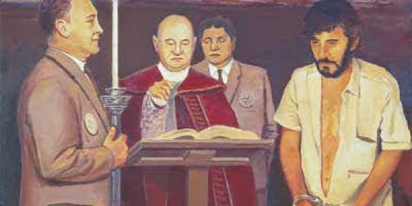 Prendimiento de Pedro y el pintor en Belalcázar 1998 Óleo sobre madera 38 x 46 cm
