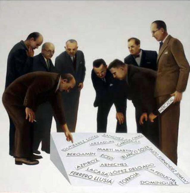 """""""Busque su arquitecto """" 140x140cm. Óleo tela. Colección Museo Municipal de Madrid"""