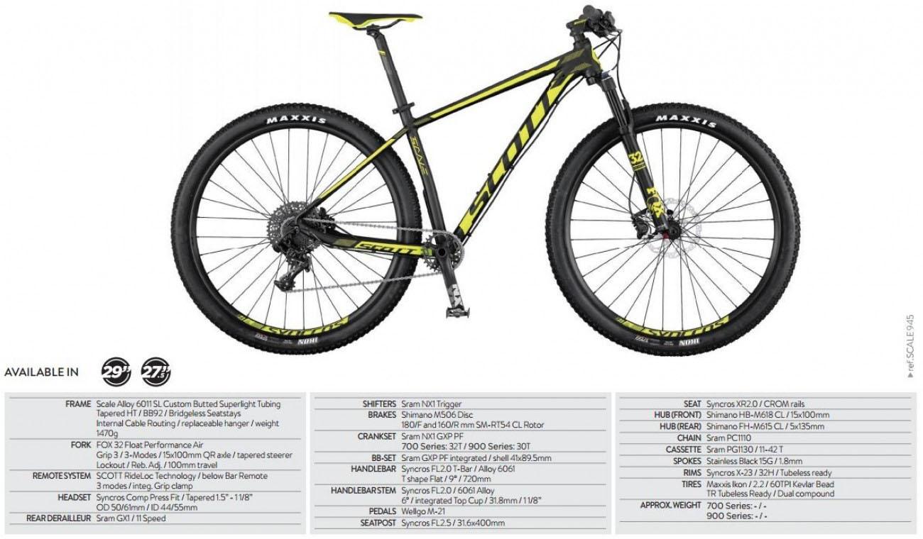 Scott Scale 945 2017 29er Mountain bike