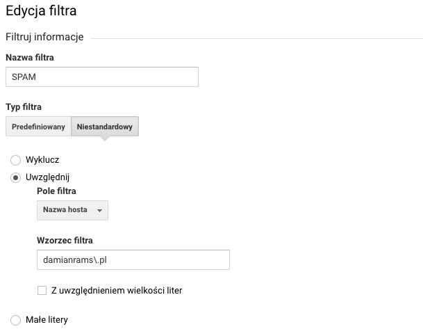 Filtr na spamowy ruch w Google Analytics