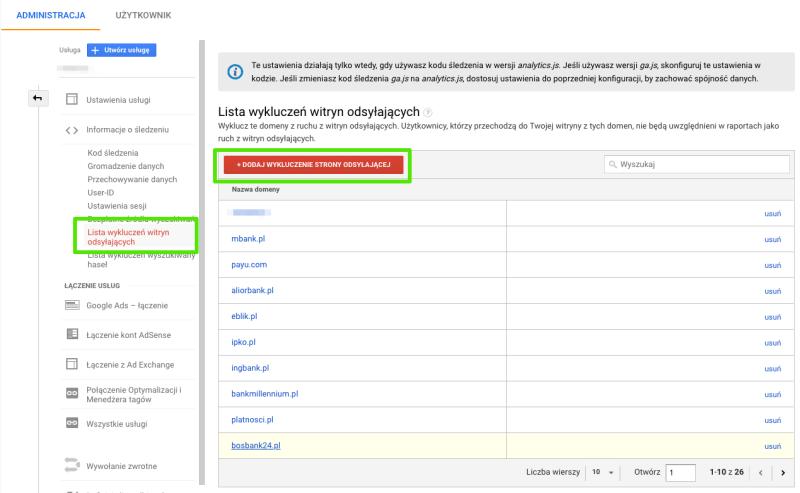 dodawanie domen do listy wykluczeń witryn odsyłających w ga