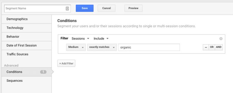 dodawanie segmentu organic w google analytics