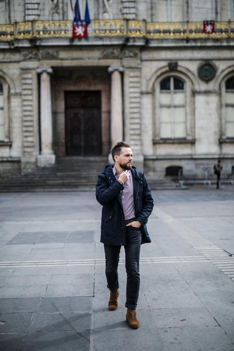 chemise à carreaux DamienLB parka chelsea boots octobre editions