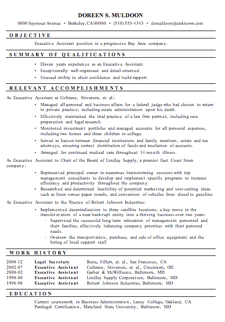 executive assistant resume sample 2013