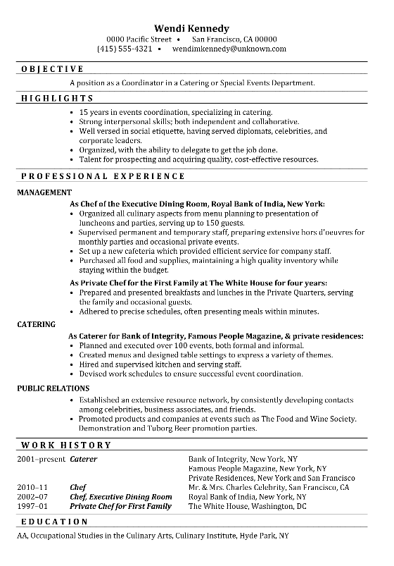 Resume Sample Coordinator Catering Or Special Events