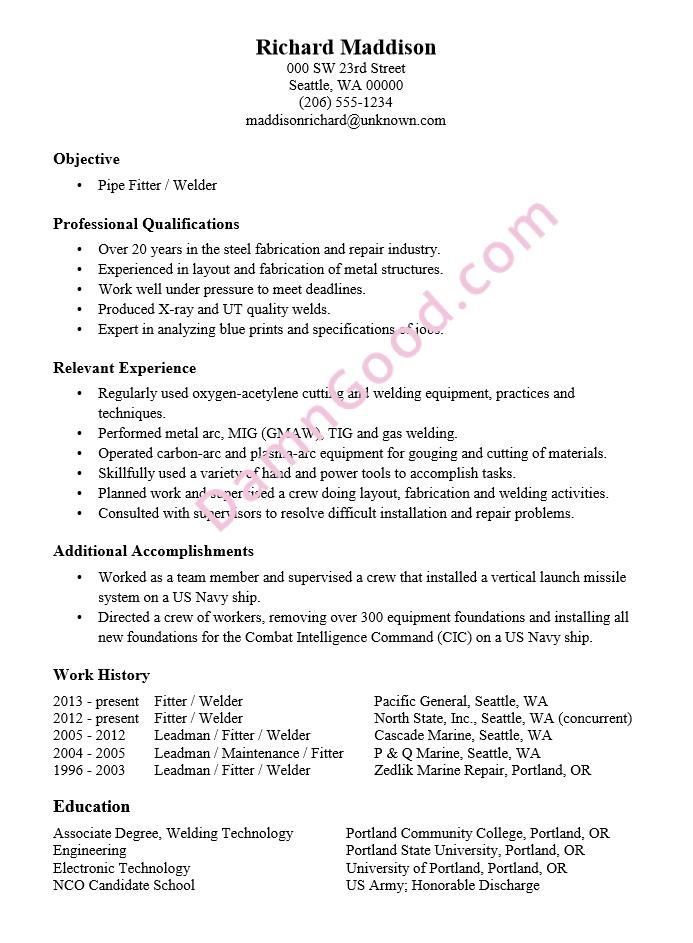 Resume Sample Pipe Fitter  Welder
