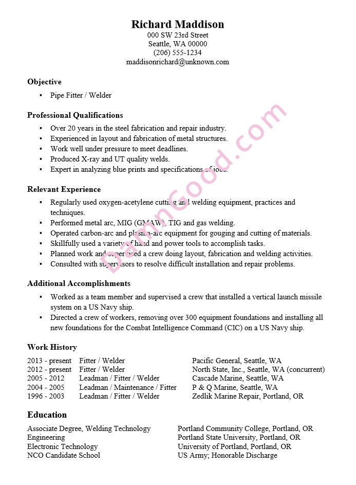 structural fitter resume sample