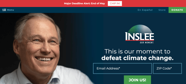 Homepage of jayinslee.com