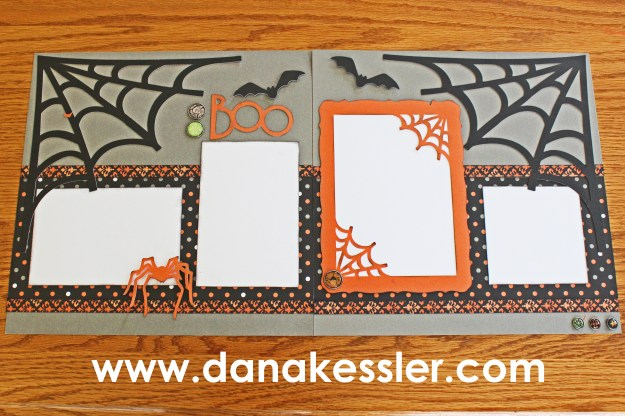 Two Page Artbooking Halloween Spiderweb Boo Scrapbook layout #ctmh #scrapbooking #scraptabulous