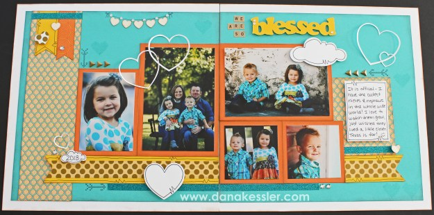 Two Page Scrapbook Layout Cloud Nine CTMH Family Kids Spring Blessed Cricut #ctmh #scraptabulousdesigns #scrapbook