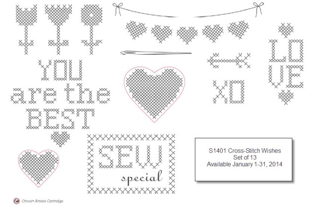 January 2014 Stamp of the Month Cross-Stitch Wishes