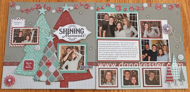 Two Page Christmas scrapbook layout Cricut Sparkle and Shine CTMH #ctmh #cricut #scrapbooking #scraptabulous designs