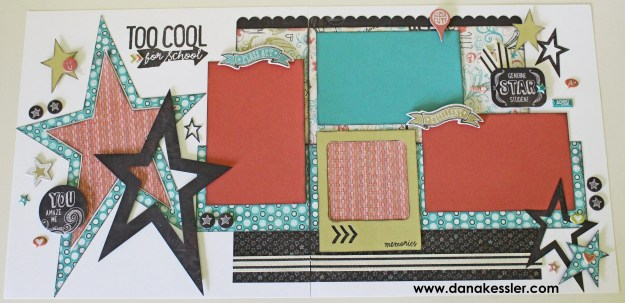 Two Page Scrapbook Layout School Chalk It Up CTMH Cricut Explore #scraptabulousdesigns #cricut #ctmh