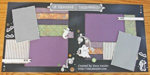 Two Page Halloween Scrapbook Layout Moonlight #ctmh #scraptabulousdesigns