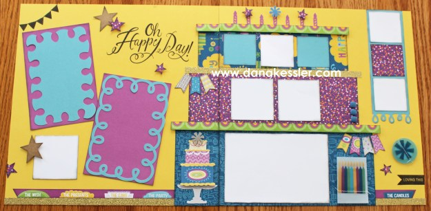 Two page scrapbook layout birthday boy girl stars Confetti Wishes #ctmh #scraptabulousdesigns #cricutexplore