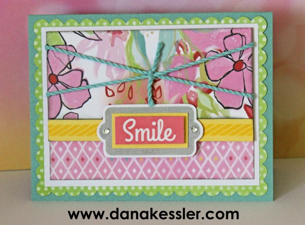 May 2015 SOTM Just Sayin' Blossom Smile Card #ctmh #scraptabulousdesigns