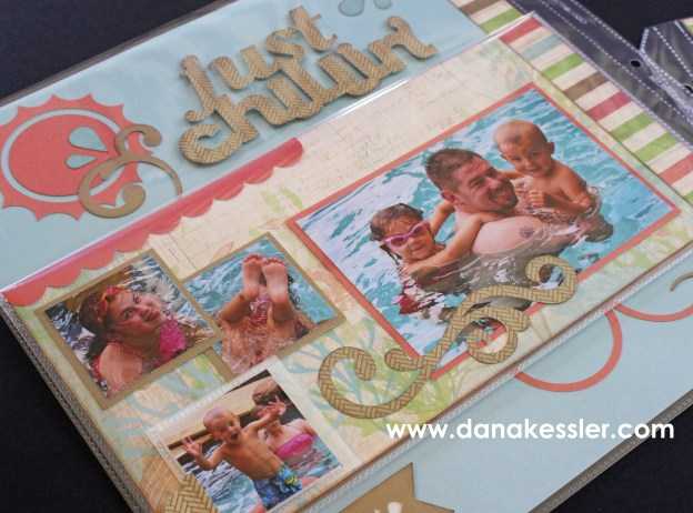 Seaside Pool Summer Beach Scrapbook Layout Flip Flap Interactive #ctmh #flipflaps #scrapatabulousdesigns #cricut #scrapbooking