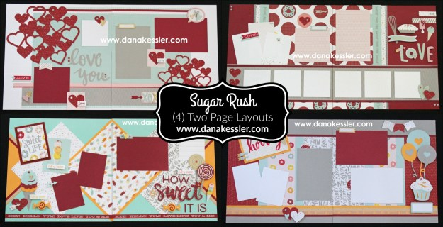 Two Page Layout Sugar Rush Scrapbooking Page Kit Love Ice Cream Baking Sweet Party Birthday #ctmhsugarrush #scrapbooking #pagekits #cricutexplore #scraptabulousdesigns
