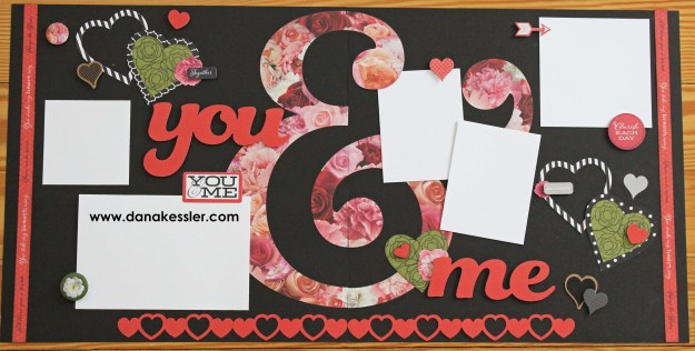 Two page Scrapbook layout Valentines Love You and Me Heart La Vie En Rose #ctmhlavieenrose #scraptabulousdesigns #scrapbooking #valentines #love #cricutexplore