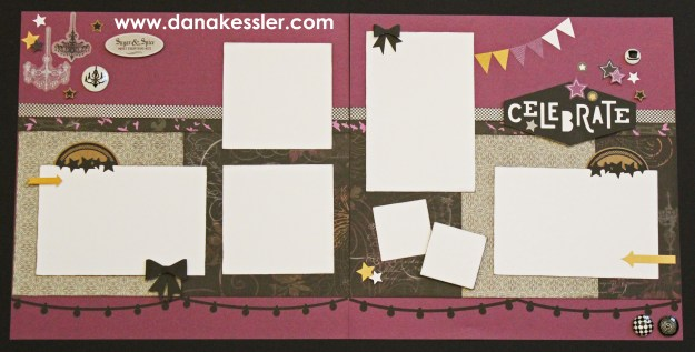 Two page scrapbook layout Halloween Nevermore Celebrate Party #ctmhnevermore #ctmh #cricut #scrapbooking