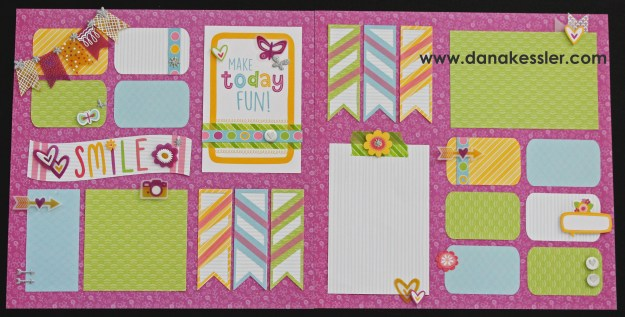 Two Page Scrapbook Layout Penelope Workshop Spring happy Fun Girl Easter #ctmhpenelope #scraptabulousdesigns #cricutexplore #scrapbooking #cricutlayouts