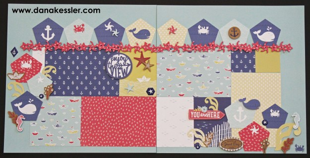 Two Page Scrapbook Layout Regatta Beach Boating Pool Summer #ctmhregatta #cricutexplore #scraptabulousdesigns #scrapbooking