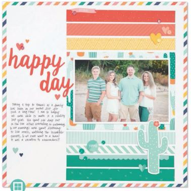 Two Page Scrapook Layout Prickly Pear Adventure Fiesta Party Celebrate Enjoy Summer Family Page Kits #ctmhpricklypear #scrapbooking #pagekits #scraptabulousdesigns #cricutexplore