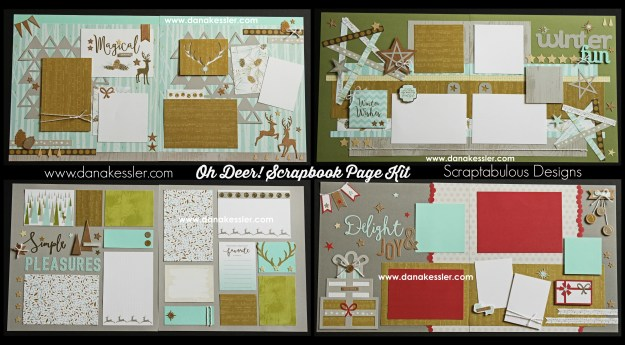 Two Page Scrapbook Layout Oh Deer Winter Birthday Outdoors Snow Magical #ctmhohdeer #cricutexplore #scrapbooking #pagekits #scraptabulousdesigns