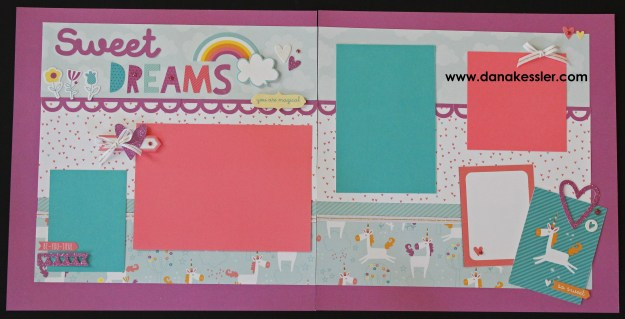Two Page Scrapbook Layout Shine Little Dreamer Unicorn Believe Baby Girl Be Yourself #ctmhlittledreamer #scraptabuloudesigns #scrapbooking #pagekits #cricutexplore