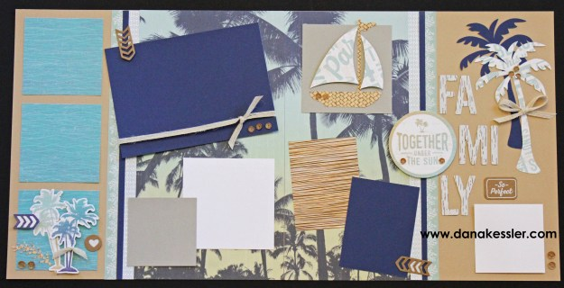 Two Page Scrapbook Layout Beach Summer Pool Lake Surf Vacation Relax No Worries #ctmhnoworries #scrapbooking #pagekits #scraptabulousdesigns #cricutexplore