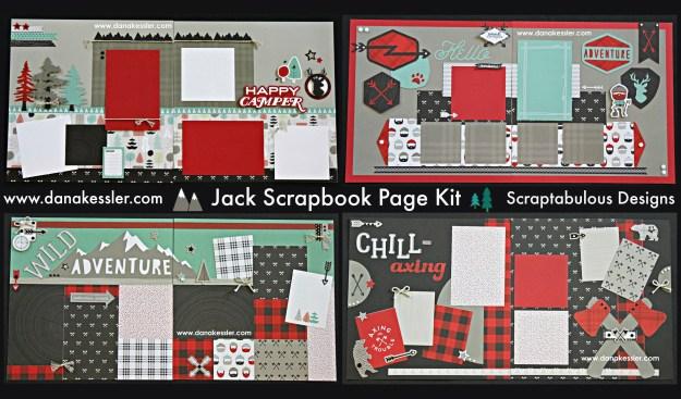 Two Page Scrapbook Kit Outdoor Adventure Teen Boy Masculine Camping Handsome Summer Hiking Axe Lumberjack #ctmhjack #scrapbooking #pagekits #scraptabulousdesigns #cricutexplore