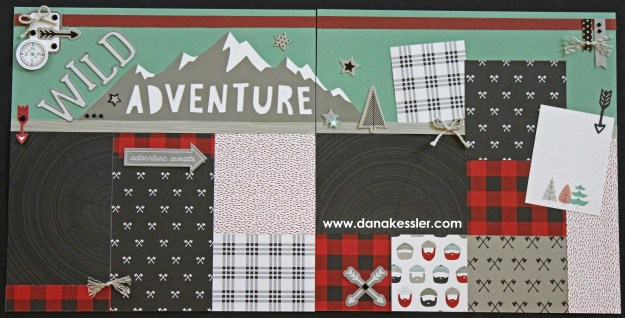 Two Page Scrapbook Kit Outdoor Adventure Teen Boy Masculine Camping Handsome Summer Hiking Axe Lumberjack #ctmhjack #scrapbooking #pagekits #scraptabulousdesigns #cricutexplore