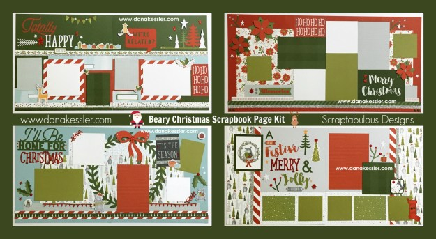 Two Page Scrapbook Layout Beary Christmas CTMH Holiday Family Merry Home #scraptabulousdesigns #scrapbooking #pagekits #cricutexplore #ctmhbearychristmas