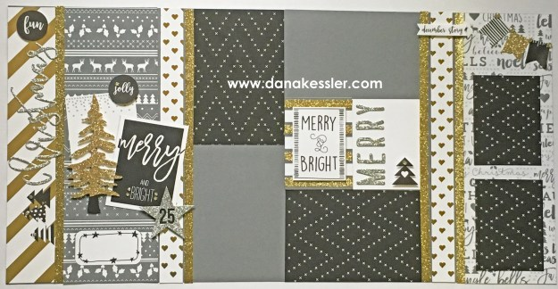 Two Page Scrapbook Layout Silver Gold Christmas Holiday Winter Joy Birthday Love Merry #ctmhsilverandgold #scrapbooking #pagekits #cricut #scraptabulousdesigns