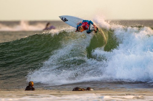 Colton Ward of San Clemente earned a perfect 10 and a second-place trophy in Boys U18 in the Surfing America Prime event on October 5 at Church Beach. Photo by Jack McDaniel
