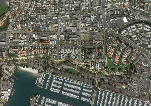 Long after initial plans to revamp Dana Point's downtown were approved, the city is now taking steps to design parking strategies for future urban development. This image shows the city's core from the Harbor in the south to Town Center in the north. Google Earth image.