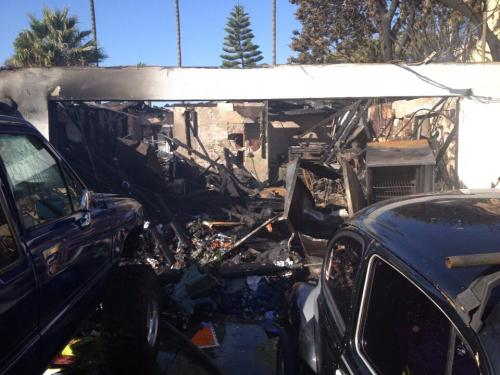 Orange County Sheriff's Department officials believe the garage where a Capo Beach explosion occurred was being used as a THC extraction lab. One man, the suspect in the blast, was injured. Photo courtesy of OSCD