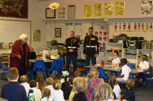 Two Marines from the Camp Pendleton-based 2nd Battalion 4th Marines speak to a class at Dana Point Montessori. Courtesy photo