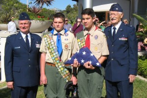 Pictured (L to R) Col. Tyler Guy, Alex Morgenstern, Scout Russell Lane and Myrwood Guy. Courtesy photo