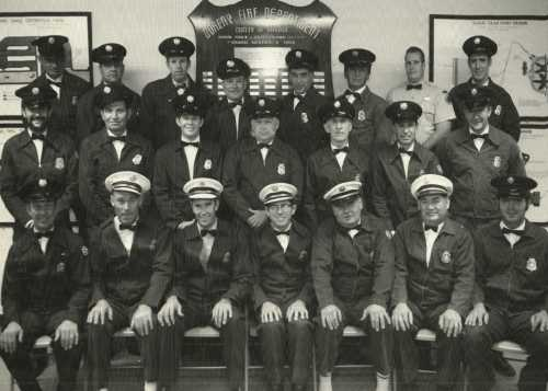 For more than 40 years, volunteer firefighters at the Capistrano Beach located Station 29, served to protect the area's residents. Here, the 25-man group of volunteers is pictured in late 60s. One of the original department founders, Melvyn Pierce, is pictured front row center, with fire historian Don Croucher in the last row third from the left. Photo courtesy of the California Fire Museum