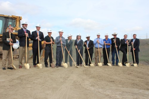 Officials from around Orange County ready to dig up the first dirt for the La Pata gap closure project that will connect San Clemente and San Juan Capistrano. Photo: Jim Shilander